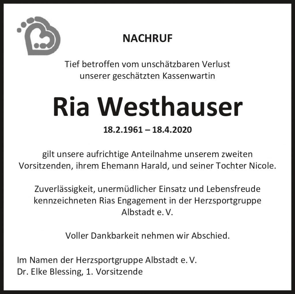 Ria Westerhauser ist gestorben,
